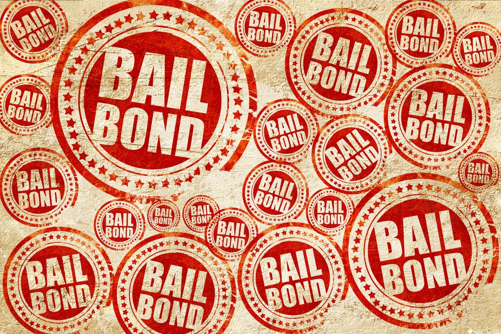 bailbond, red stamp on a grunge paper texture